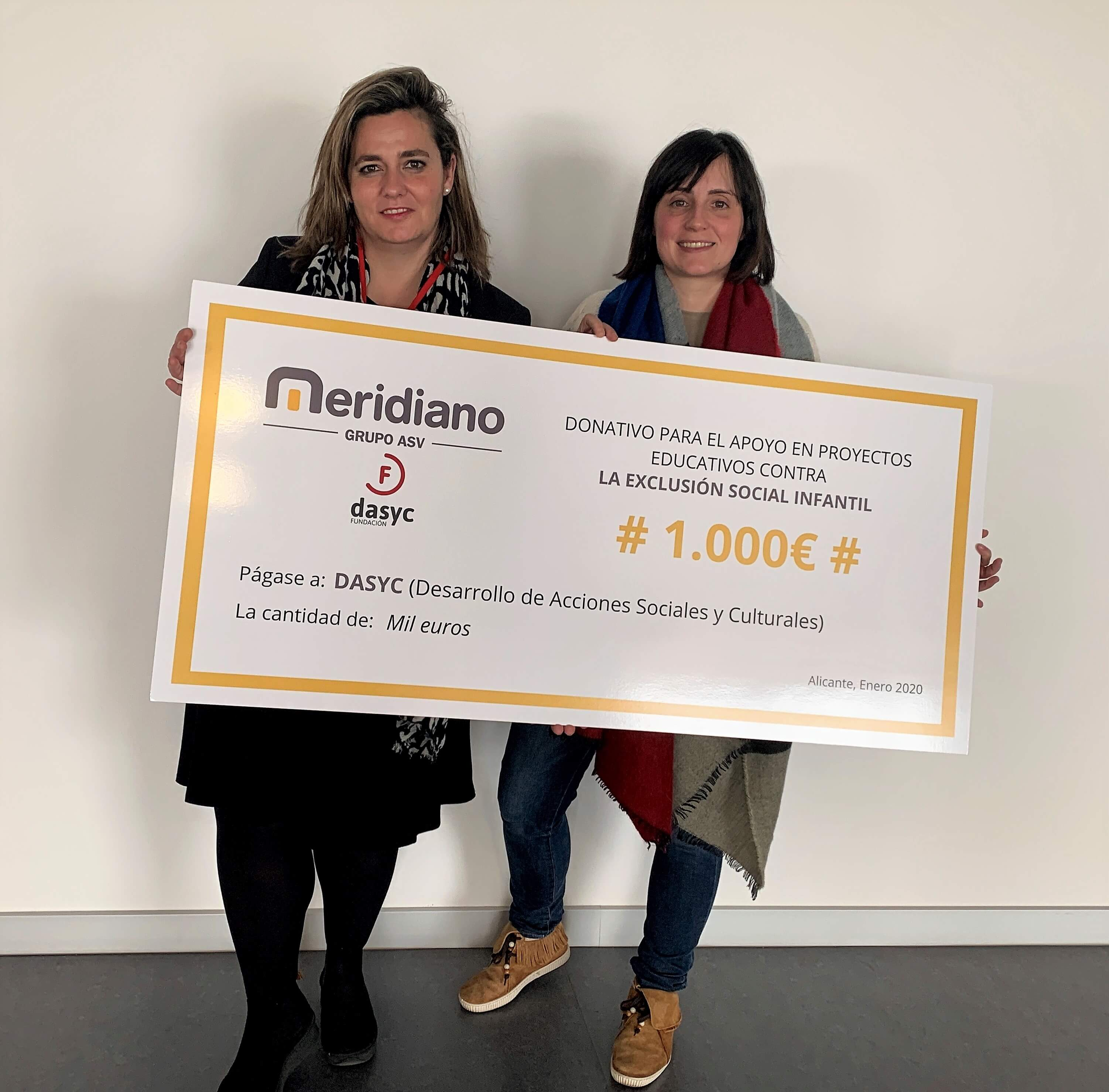 """Meridiano Seguros dona 2.000 euros a las Fundaciones Dasyc Alicante y Trans Málaga recaudados con la iniciativa solidaria """"Kilómetros por sonrisas"""""""