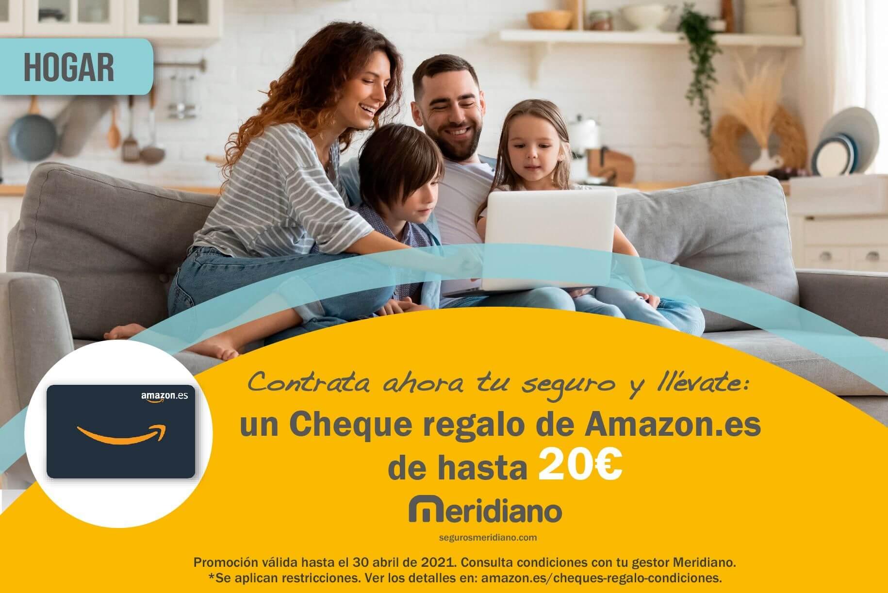Llévate con tu seguro de hogar un Cheque regalo de Amazon.es de hasta 20€